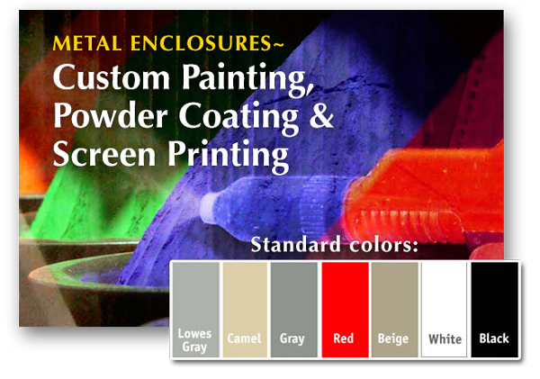 Custom Painted Metal Boxes and Powder Coating and Graphic Screening for Metal Enclosures